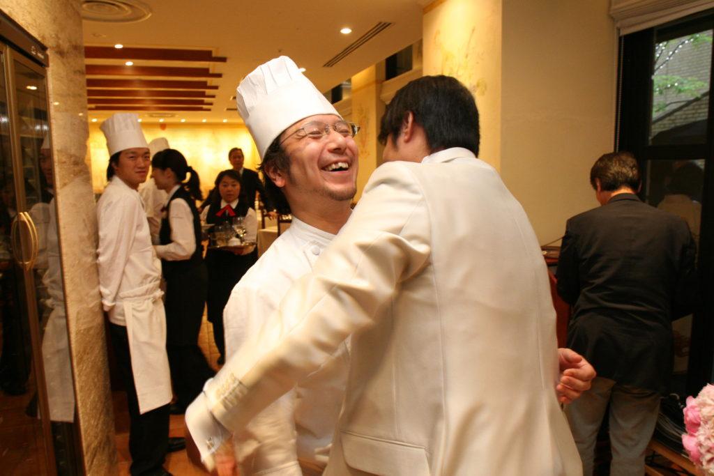 新郎と料理長